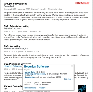 Hyperion was acquired by Arbor was acquired by Oracle... but LinkedIn doesn't know that?