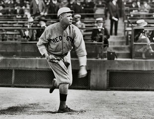 """""""Babe Ruth Boston pitching"""" by Frances P. Burke - Francis P. Burke Collection. Licensed under Public Domain via Commons - https://commons.wikimedia.org/wiki/File:Babe_Ruth_Boston_pitching.jpg#/media/File:Babe_Ruth_Boston_pitching.jpg"""