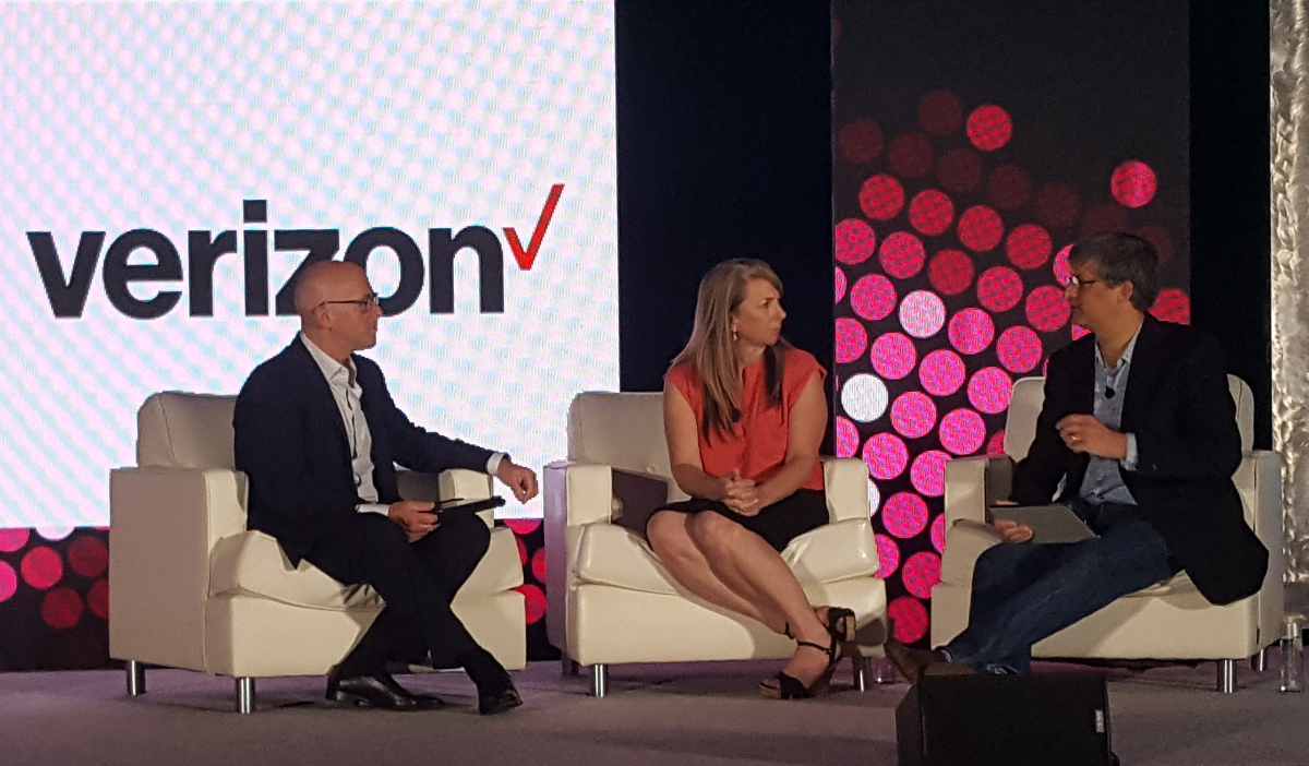 Erin Van Remortel, Principal Client Partner, Verizon Enterprise Solutions joins Clarabridge founder Sid Banerjee and C3 emcee Mark Jeffries onstage