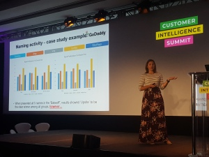 GoDaddy UX Research Director Cassie Mally, speaking at the Vision Critical Customer Intelligence Summit